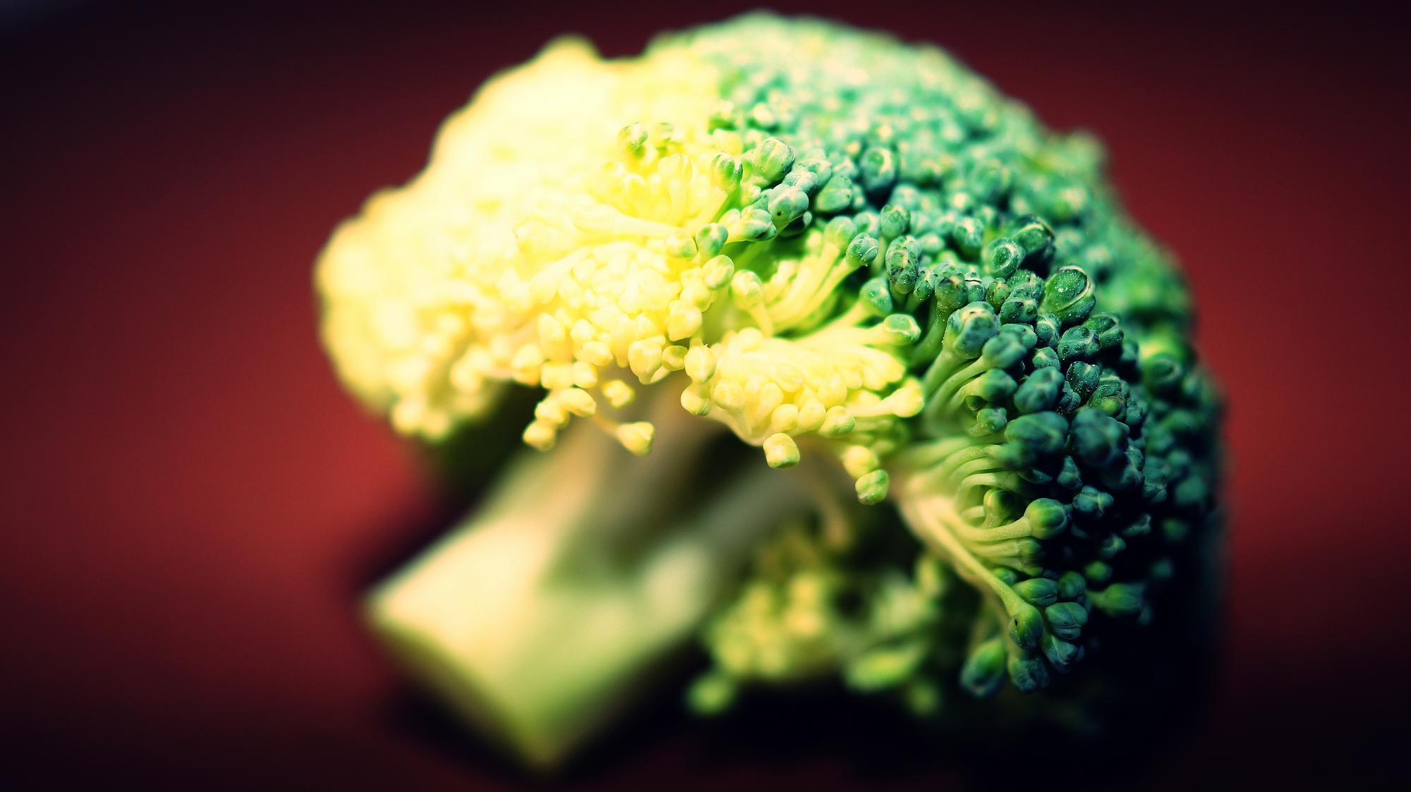 Eating the broccoli