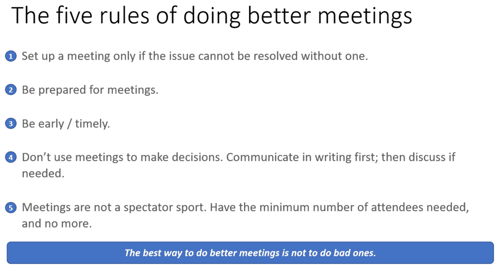 Five rules to do better meetings